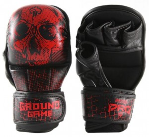 GROUND GAME Rękawice MMA / Krav Maga Sparingowe RED SKULL